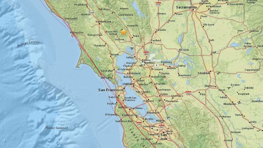 An earthquake shook the Yountville area of Northern Calif. on Thursday. Photo: USGS