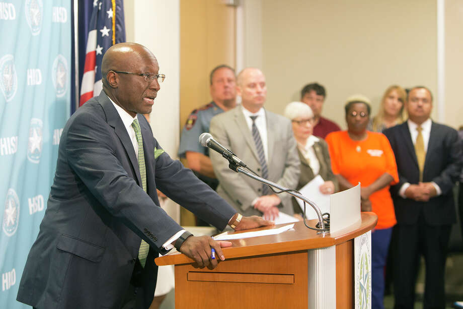 Deputy Superintendent Ken Huewitt speaks during a news conference at the Hattie Mae White Educational Support Center, Tuesday, Sept. 15, 2015, in Houston. Two HISD students died earlier in the day in a crash involving a school bus. Photo: Cody Duty, Houston Chronicle / © 2015 Houston Chronicle