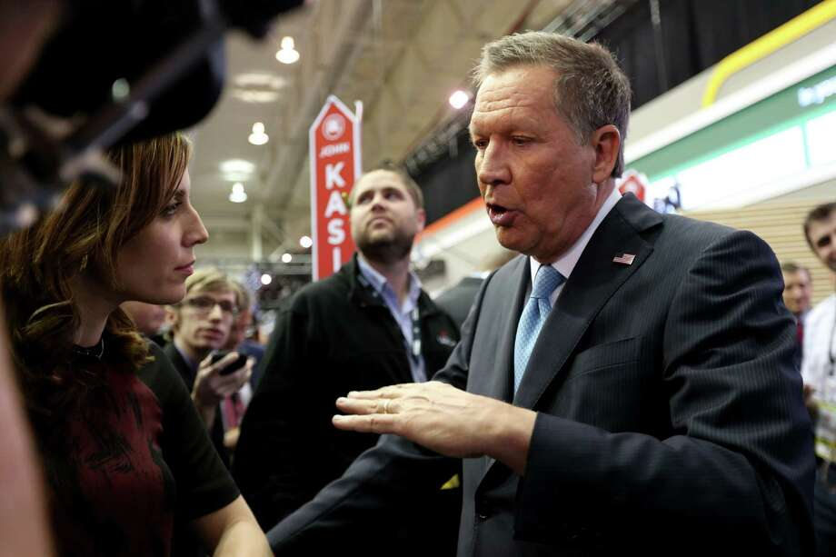 John Kasich addresses the media in the spin room after the Republican presidential primary debate at the University of Houston Thursday, Feb. 25, 2016, in Houston. Photo: Gary Coronado, Houston Chronicle / © 2015 Houston Chronicle