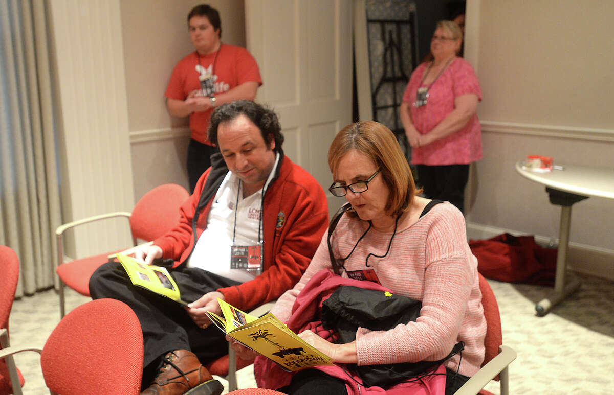 Volunteers and film-goers got an early jump on the weekend long festivities with the opening film showings at the McFaddin-Ward House visitor center on the first day of the annual Boomtown Film & Music Festival Thursday night. Music on the porch of the historic home also kicked off the events. Photo taken Thursday, February 25, 2016 Kim Brent/The Enterprise