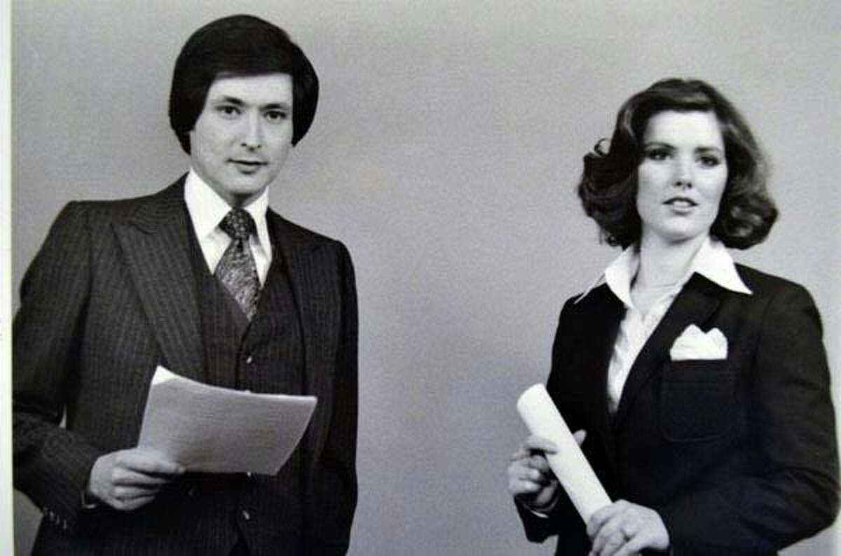 """Deborah Knapp and Fred Lozano anchoring the 5 p.m. news on KENS-TV in 1979. ?""""He was my first co-anchor and we had a 50 share of the audience,?• Knapp recalled."""