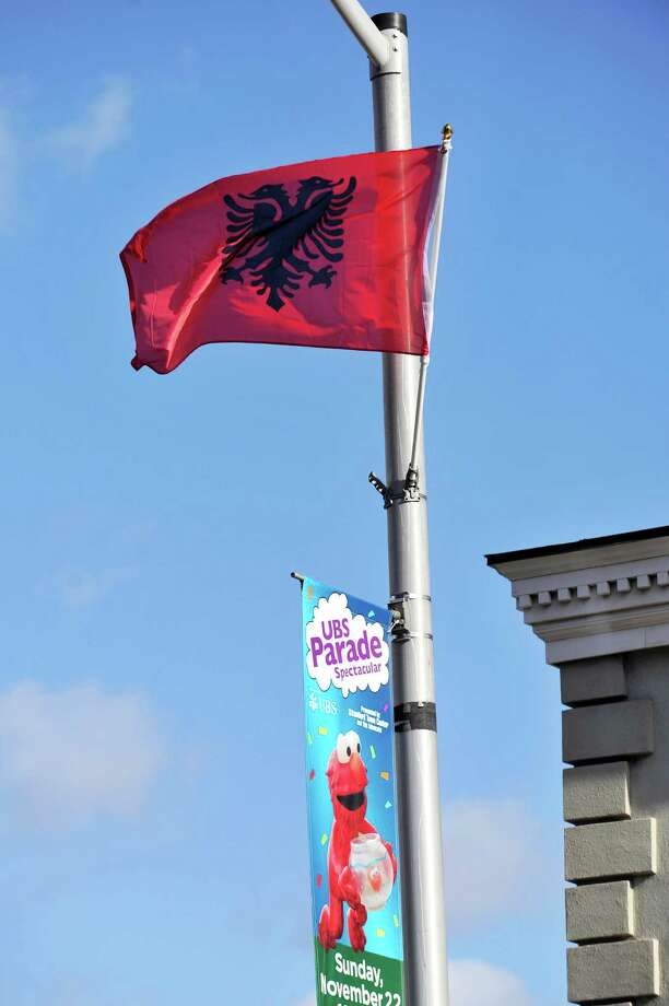 Albanian flags lining Summer Street sparked a kerfuffle over whether it was un-American to have them there. Stamford's annual Albanian Independence Day celebration was Sunday, November 29, 2015. Photo: Michael Cummo / Hearst Connecticut Media / Stamford Advocate