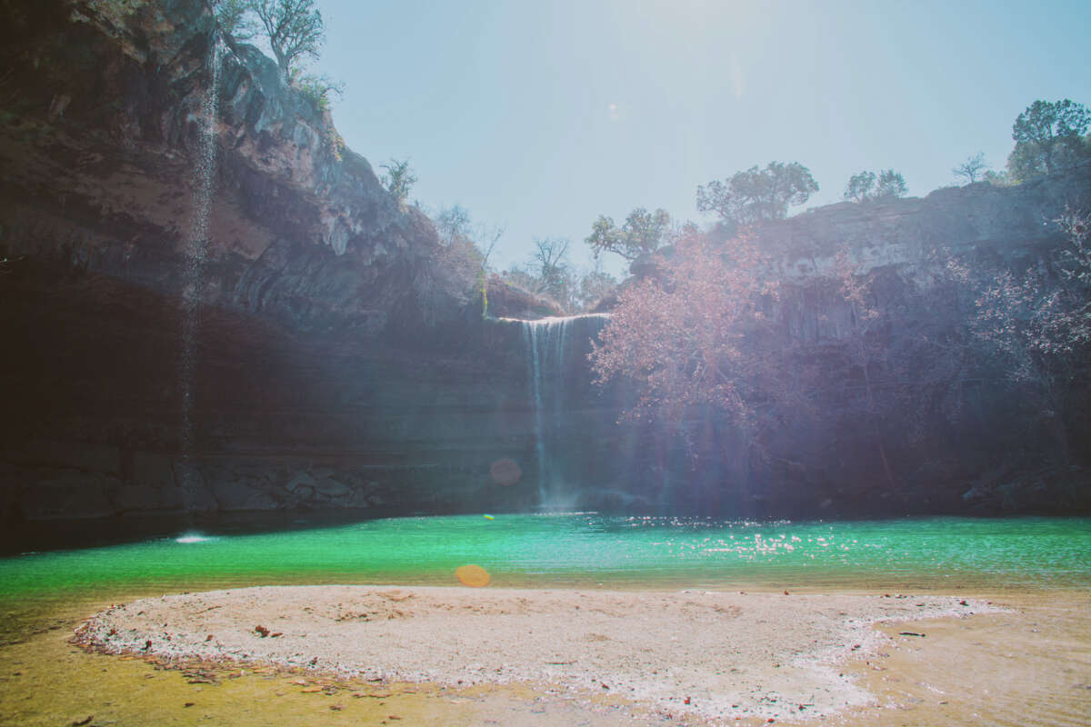 2. The Hamilton Pool waterfall never completely dries up, however, when it's dry it does slow to a trickle.