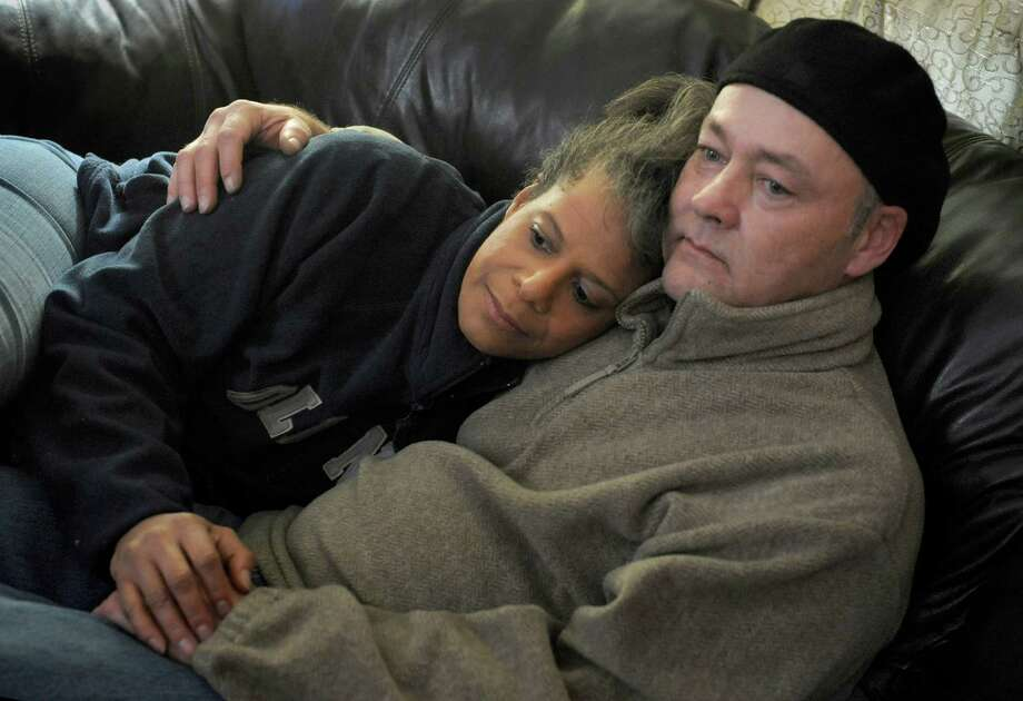 Debi Thomas with her fiance, Jamie Looney. They have endured a tumultuous relationship, but have stayed together. Photo: Michael S. Williamson, Washington Post / The Washington Post