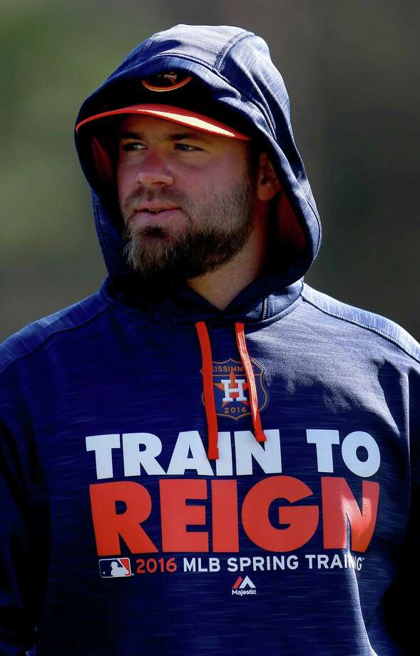 Astros DH Evan Gattis is recovering from hernia surgery he underwent three weeks ago. Photo: Karen Warren, Houston Chronicle / © 2015  Houston Chronicle