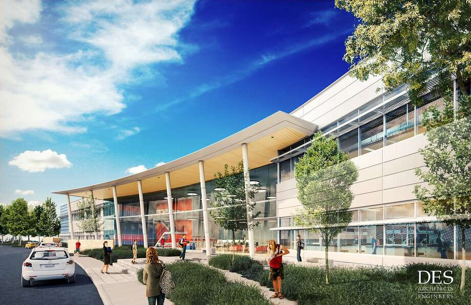 The proposed Design Tech High School, a public charter school, would be built on Oracle's Redwood Shores campus. Photo: Courtesy: Oracle Corp.