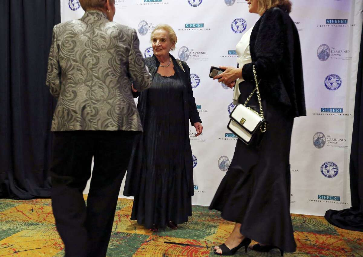 Former Secretary of State Madeleine K. Albright (center) greets people before posing for photos Thursday Feb. 25, 2016 during the World Affairs Council of San Antonio 2016 International Citizen of the Year Gala held at the Marriott Rivercenter.