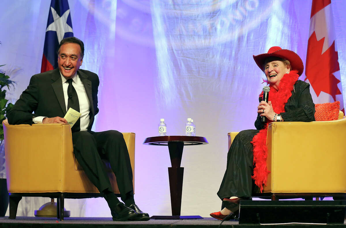 Former San Antonio Mayor and ex-US Housing Secretary Henry Cisneros (left) and former Secretary of State Madeleine K. Albright joke during a conversation Thursday Feb. 25, 2016 part of the World Affairs Council of San Antonio 2016 International Citizen of the Year Gala held at the Marriott Rivercenter.