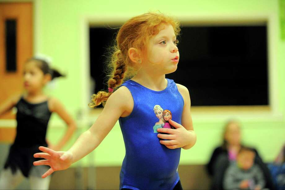 Brianna Quinn, 4, of Stamford and other children learn a jazz dance routine as they participate in a Jazz and Tap class at Steps Dance Studio in Stamford, Conn. on Wednesday, Feb 24, 2016. The studio offers a variety of dance instruction from Jazz, Tap and Ballet. For information on upcoming events and classes, please contact Vicki Nanarello at 203-355-9331 Photo: Matthew Brown / Hearst Connecticut Media / Stamford Advocate