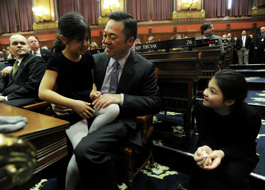 Rep. William Tong, D-Stamford, with daughters Penelope, 7, left, and Eleanor, 9, during the opening session of the General Assembly at the Capitol in Hartford, on Feb. 3. Photo: Brian A. Pounds / Hearst Connecticut Media / Connecticut Post