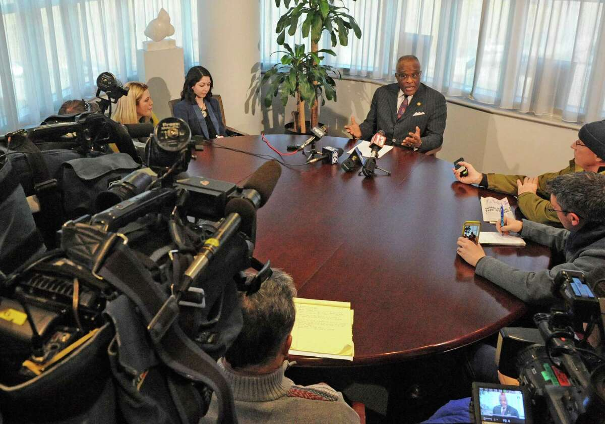 University at Albany President Robert Jones holds a press conference address in the aftermath of the ever evolving bus attack case at the university on Friday Feb. 26, 2016 in Albany, N.Y. (Michael P. Farrell/Times Union)