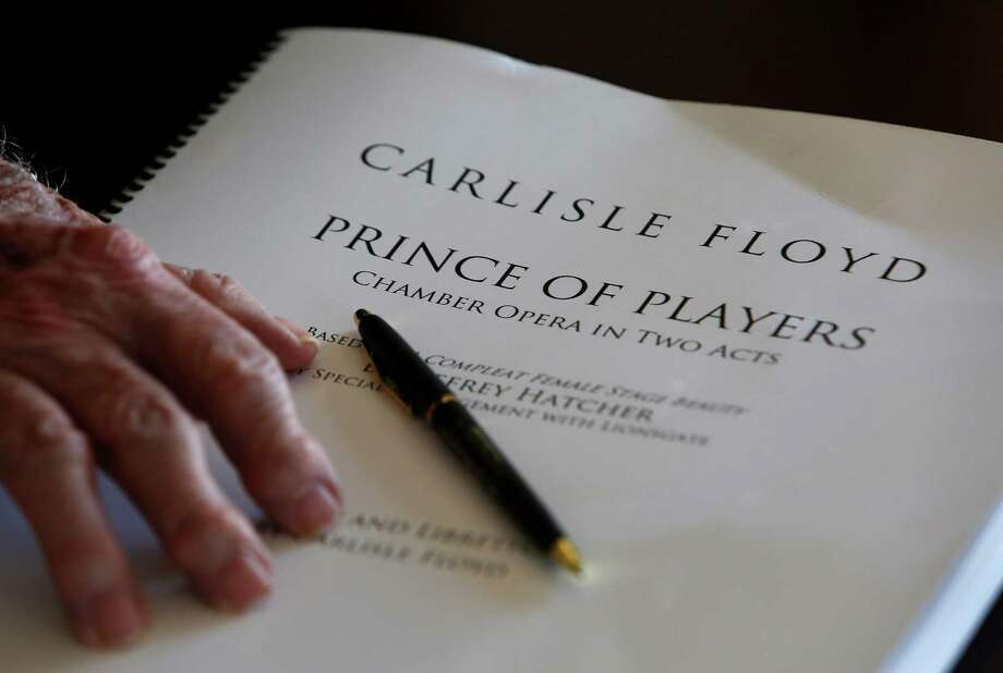 """Carlisle Floyd's hand resting on the libretto of his new opera, """"Prince of Players."""" Photo: Mark Mulligan, Staff / © 2016 Houston Chronicle"""
