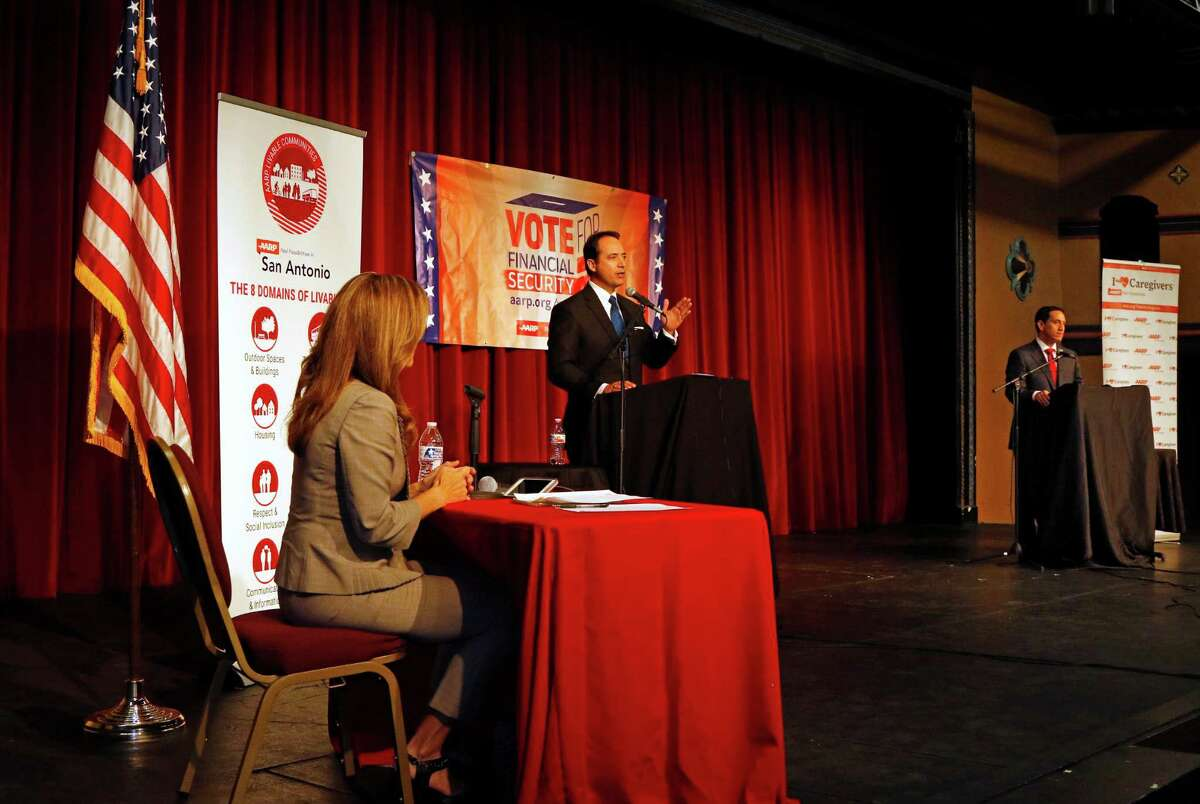 Debate between incumbent Jose Menendez ,L,and challenger Trey Martinez Fischer, candidates for Texas Senate District 26. Moderated by Sarah Lucero of KENS 5 held on Friday, January 29, 2016 at the Guadalupe Cultural Arts Center.