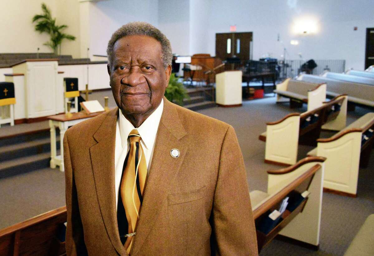 Deacon William Clay in the sanctuary at the Metropolitan New Testament Mission Baptist Church Wednesday Feb. 24, 2016 in Albany, NY. (John Carl D'Annibale / Times Union)