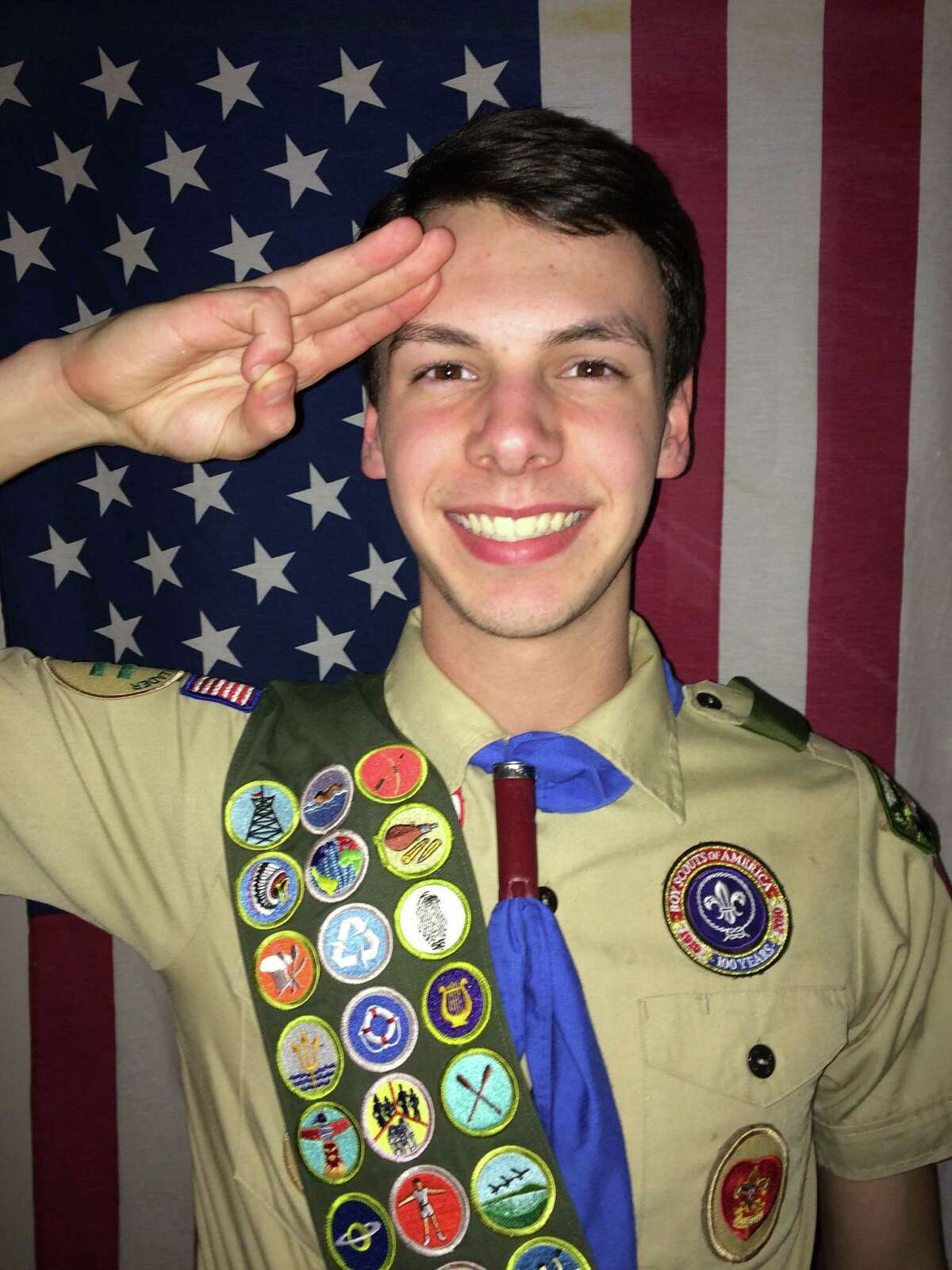Colonie Central senior John Cogan of Christ Our Light Troop 1022 earned the rank of Eagle Scout for overseeing construction of a portable 18-hole miniature golf course for the High School. The course is used as a fundraiser for Colonie Central's RaiderFest and is available for other schools in the South Colonie District. (Photo credit: Stephanie Cogan)