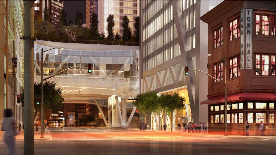 A rendering of the 181 Fremont tower designed by Heller Manus Architects shows a night view look at how the high-rise will appear alongside the existing 1907 brick structure at 342 Howard St. that houses Town Hall restaurant and a child care facility. The tower now is under construction, and includes an elaborate netting structure to prevent items falling from the rising structure onto 342 Howard's roof. Photo: Steelblue