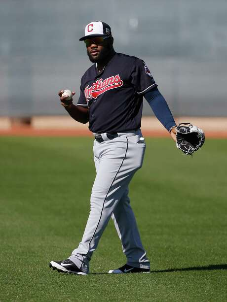 Cleveland Indians' Abraham Almonte warms up during a spring training baseball workout Thursday, Feb. 25, 2016, in Goodyear, Ariz. (AP Photo/Ross D. Franklin) Photo: Ross D. Franklin, STF / AP
