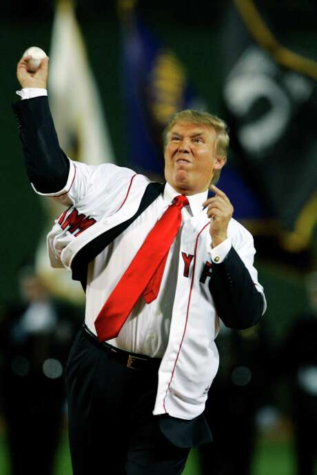 Native New Yorker Donald Trump throws out the ceremonial first pitch before a Yankees game at Fenway Park in 2006. Photo: CHARLES KRUPA, STF / AP2006