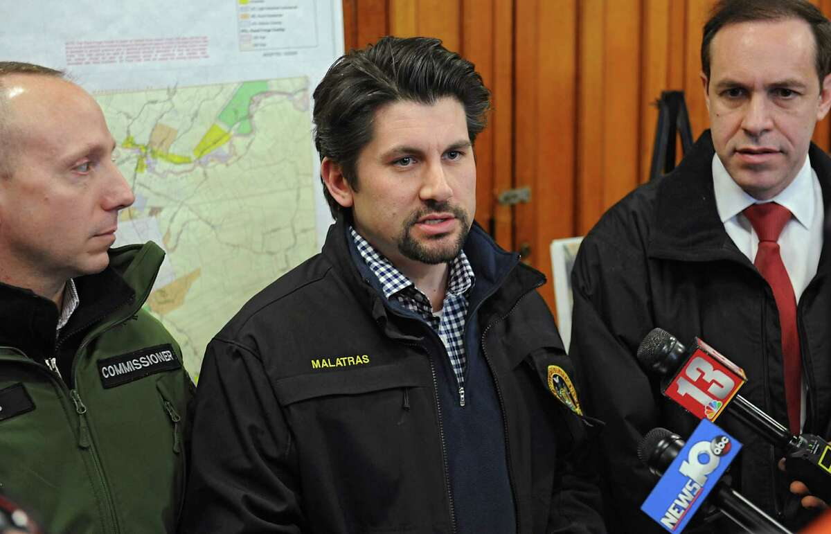 From left, Commissioner of the New York State Department of Environmental Conservation Basil Seggos, Director of State Operations Jim Malatras and Commissioner of Health for New York State Dr. Howard Zucker explain how the state is flushing the Hoosick Falls water and installing filters for PFOA on Friday, Feb. 26, 2016 in Hoosick Falls, N.Y. (Lori Van Buren / Times Union)