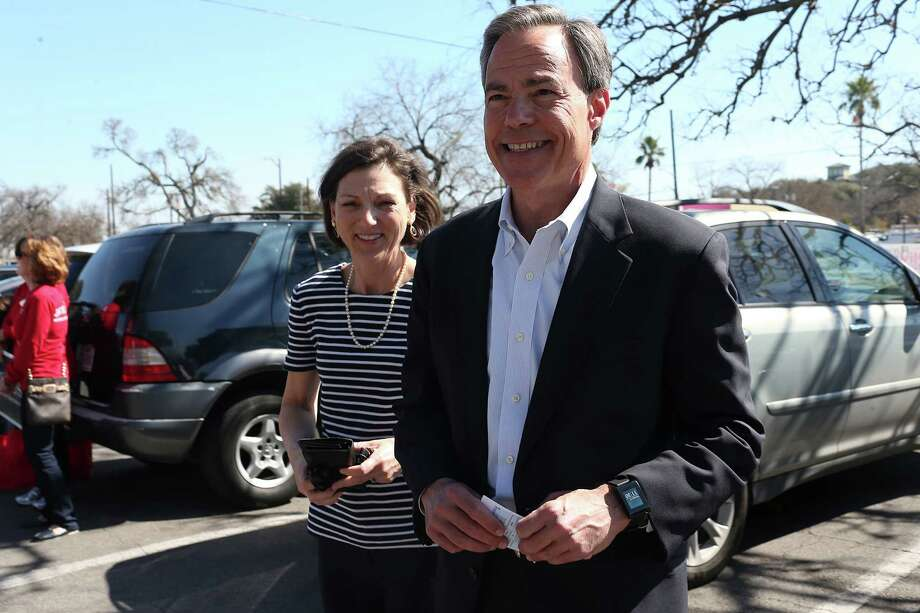 Joe Straus, speaker of the Texas House, arrives for early voting with his wife, Julie. Straus alone has spent $3.7 million to defend against tea party challengers.   Photo: Jerry Lara, Staff / © 2016 San Antonio Express-News