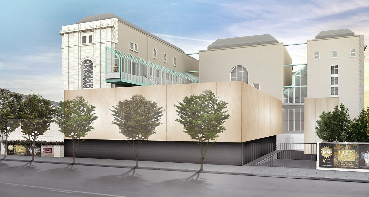 Architect's concept of the volume that would be occupied by the planned addition to the Asian Art Museum, viewed from Hyde St.