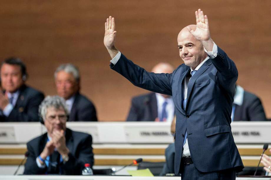 Gianni Infantino of Switzerland acknowledges delegates  after he was elected FIFA's new president Photo: Ennio Leanza, SUB / KEYSTONE