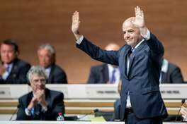 Gianni Infantino of Switzerland acknowledges delegates  after he was elected FIFA's new president