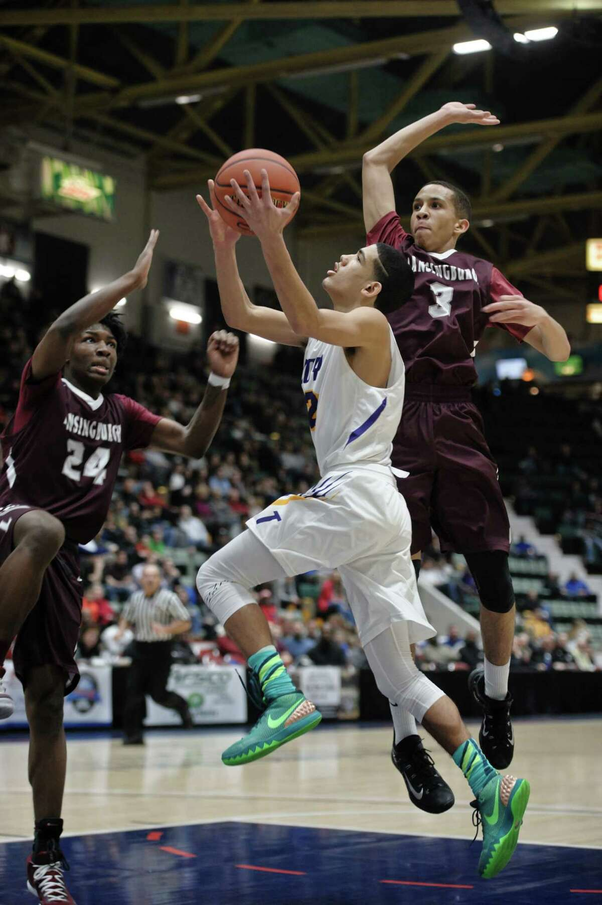 Troy's Daniel Buie during the Section II Class A final against Lansingburgh Friday, February 26th, 2016 at the Glens Falls Civic Center. Photo By Eric Jenks, for the Times Union