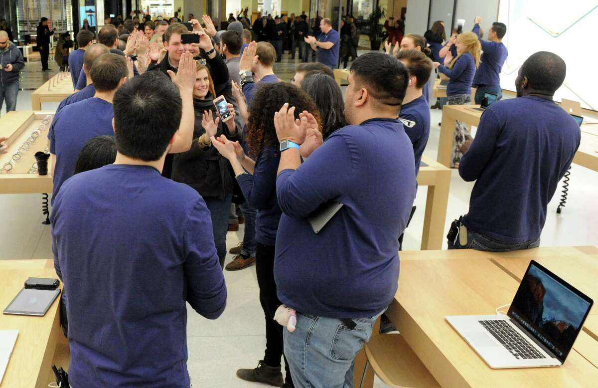 The renovated Apple store reopened at Crossgates Mall on Saturday Feb. 27, 2016 in Guilderland, N.Y. (Michael P. Farrell/Times Union)