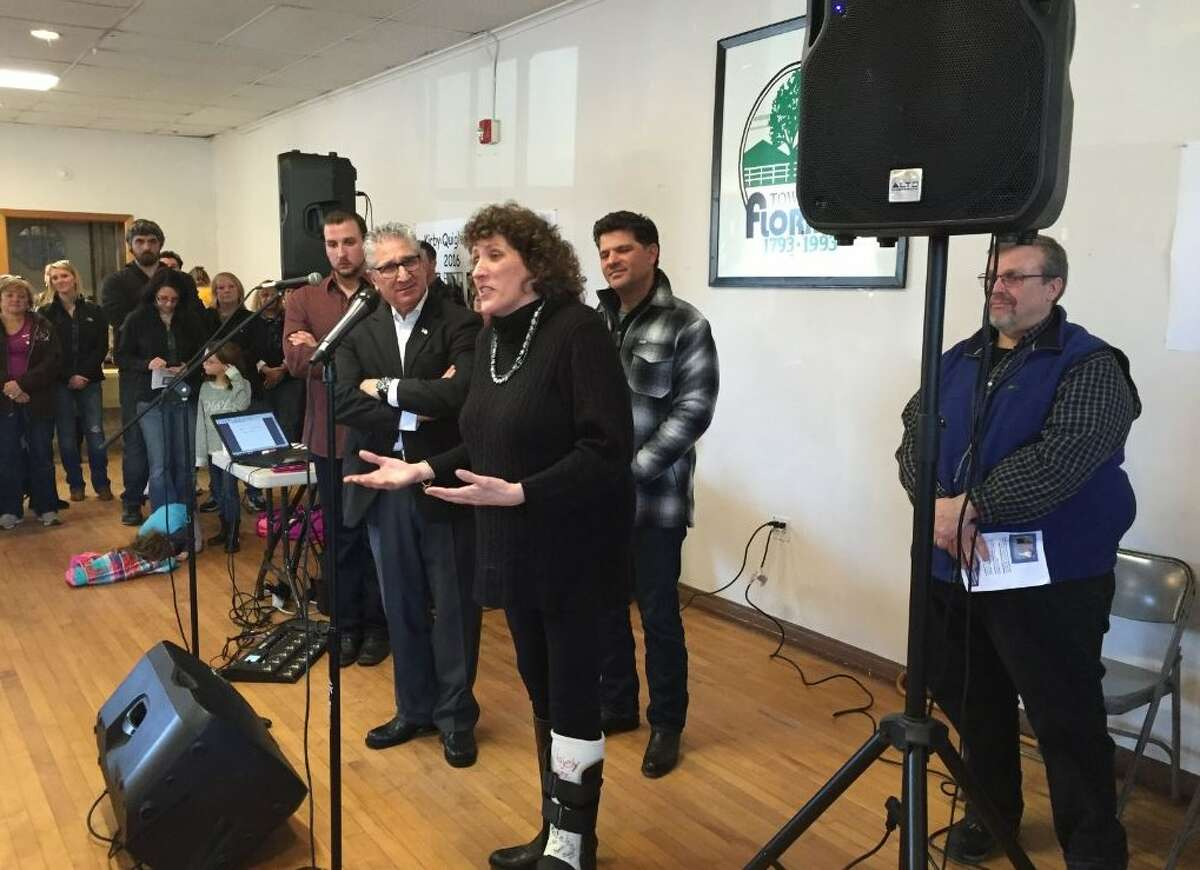 Assemblyman Tedisco, Senator Amedore joining the Krohn family (Denise Krohn at the microphone, son Jake Krohn in maroon shirt and Pat Krohn in blue jacket behind Tedisco) calling for passage of