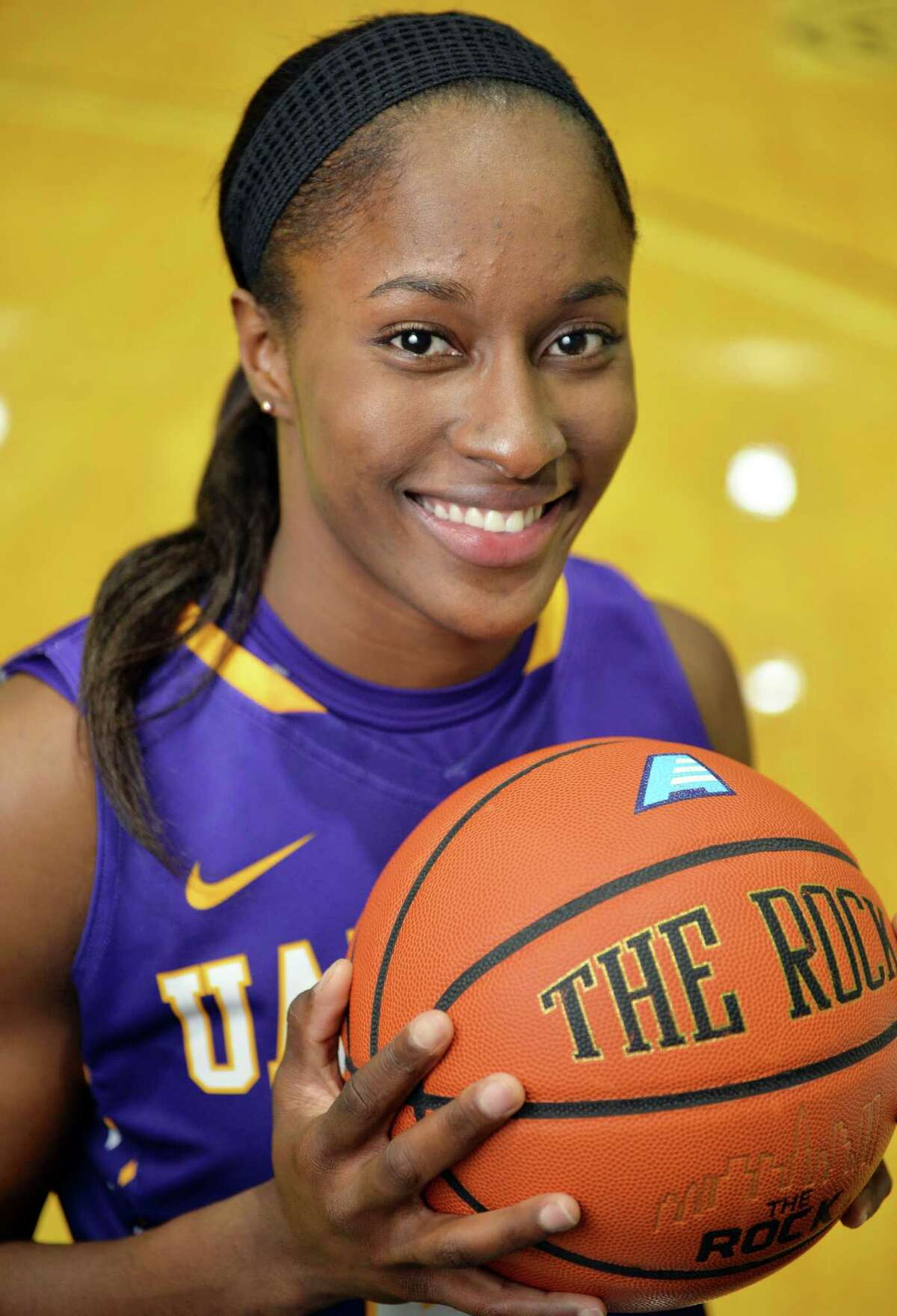 Shereesha Richards, the University of Albany women's basketball team's star forward, during a photo shoot at SEFCU arena Friday Jan. 8, 2016 in Albany, NY. (John Carl D'Annibale / Times Union)