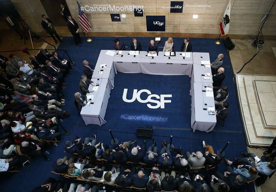 A panel discussion on cancer research at the UCSF Mission Bay campus in San Francisco. Photo: Paul Chinn, The Chronicle
