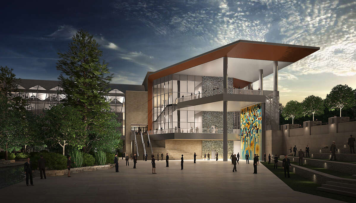 A rendering showing what the HemisFair glass mural might look like in the new Convention Center.