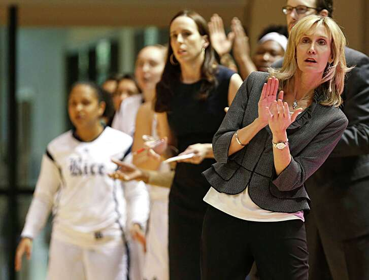 Rice Owls head coach Tina Langley right, during the first quarter of women's college basketball game action at Rice University's Tudor Fieldhouse Saturday, Feb. 27, 2016, in Houston.