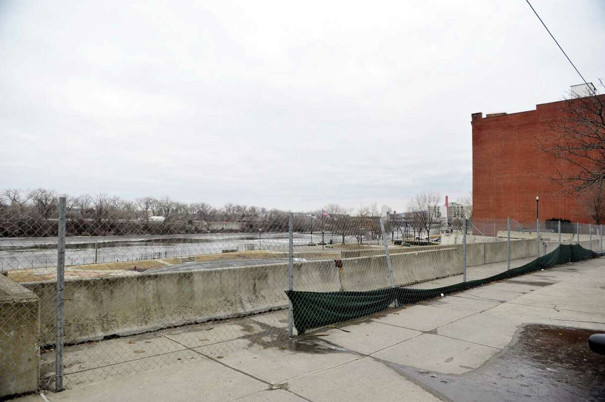 A view of the location where Troy City Hall once stood on River Street, seen here on Wednesday, Feb. 17, 2016, in Troy, N.Y. (Paul Buckowski / Times Union)