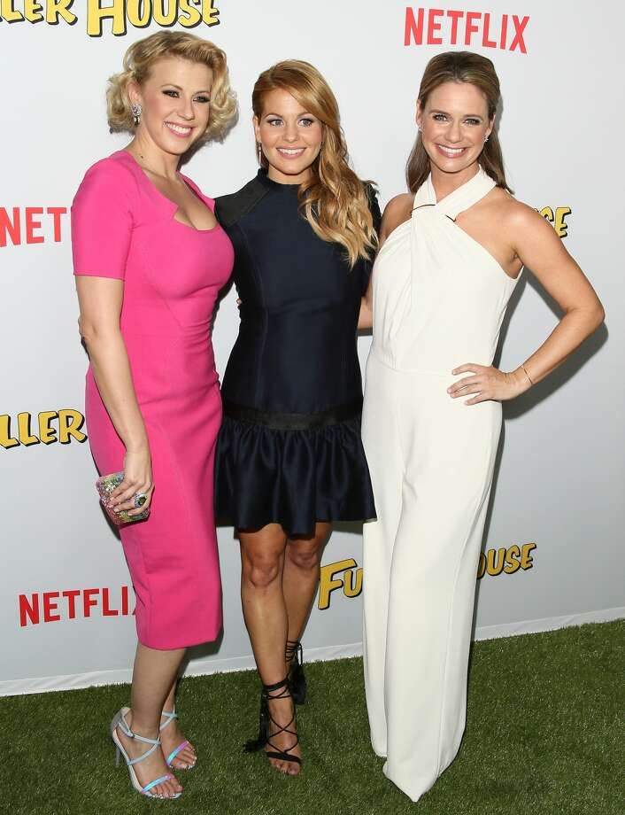 "Candace Cameron-Bure, Jodie Sweetin and Andrea Barber attend the premiere of Netflix's ""Fuller House"" on Feb. 16, 2016 in Los Angeles."