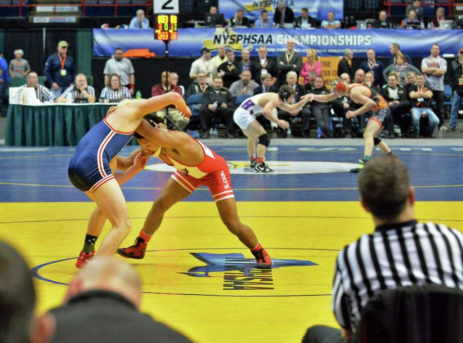 NYS high school wrestling championship matches at the Times Union Center Saturday Feb, 27, 2016 in Albany, NY.  (John Carl D'Annibale / Times Union) Photo: John Carl D'Annibale / 10035523A