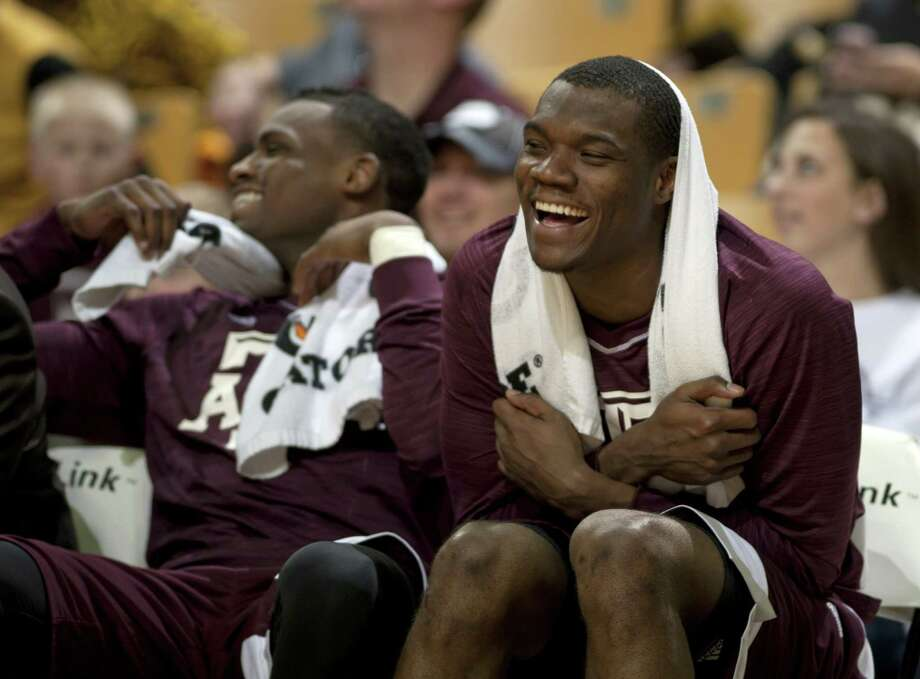 Jalen Jones could barely contain his joy after scoring 20 points to help A&M beat Missouri. Photo: Nick Schnelle, MBO / Columbia Daily Tribune