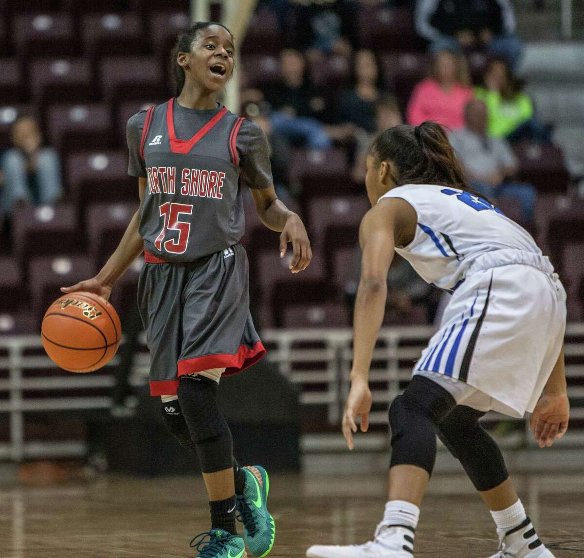 Chasity Patterson of North Shore calls out a play during a game Saturday February 27, 2016. North Shore played Clear Springs in the girls basketball Region III finals at the Campbell Center.
