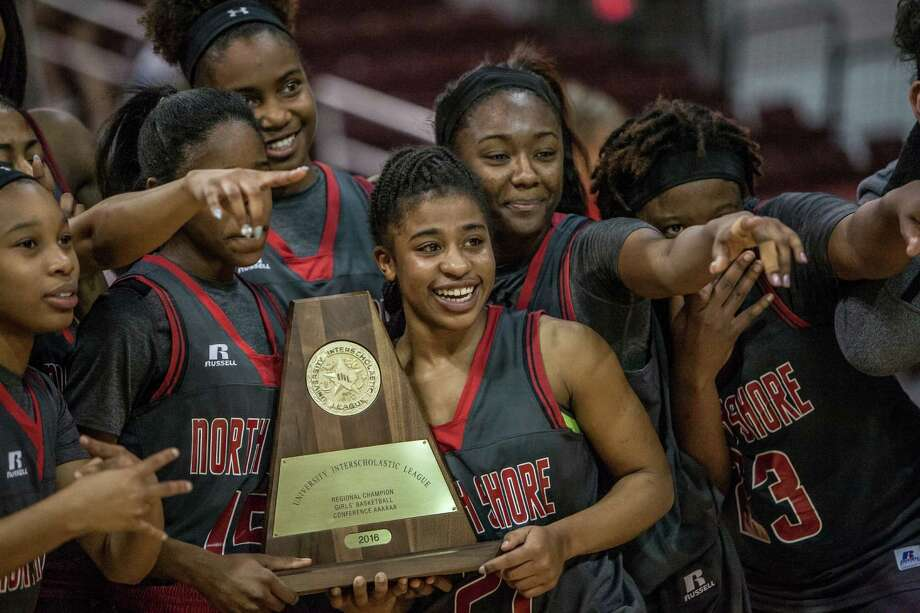 Madisyn Francis of North Shore celebrates with her teammates after winning the Region III final Saturday February 27, 2016. North Shore played Clear Springs in the girls basketball Region III finals at the Campbell Center. Photo: Michael Starghill, Jr. / © 2016 Michael Starghill, Jr.