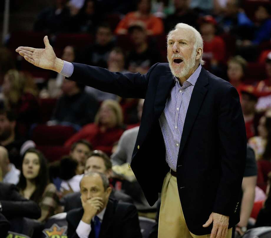 San Antonio Spurs coach Gregg Popovich yells at officials during the second half of an NBA basketball game against the Houston Rockets, Saturday, Feb. 27, 2016, in Houston. (AP Photo/Bob Levey) Photo: Bob Levey, Associated Press / FR156786 AP