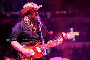 Recent Grammy winner Chris Stapleton performs in his San Antonio Rodeo & Stock Show debut at the AT&T Center on Saturday, Feb. 27, 2016.  MARVIN PFEIFFER/ mpfeiffer@express-news.net