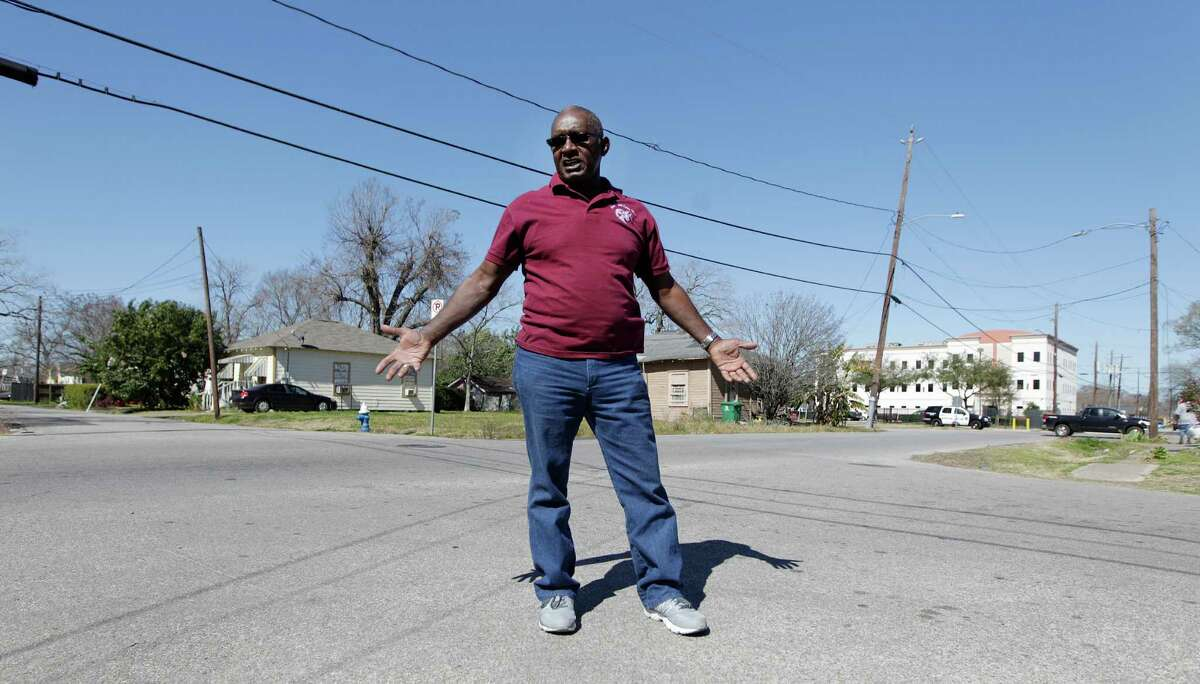 Audry L. Releford, whose mentally ill son Kenneth was shot and killed by a police officer in 2012. Releford stands in the intersection where he was shot Thursday, Feb. 11, 2016, in Houston. The same officer was involved soon after in another shooting and the incident has sparked a wrongful death case against HPD that challenges the quality of HPD's reviews of all officer involved shootings from 2009-2012 under outgoing Chief McClelland.