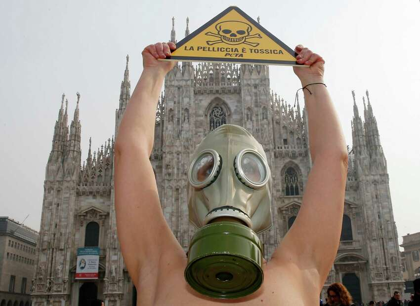 PETA (People for the Ethical Treatment of Animals) activist wears gas masks during a demonstration against the use of fur ahead of Milan's Fashion Week, in Milan's Duomo Square, Italy, Tuesday, Feb. 23, 2016. Milan Fashion Week opens Wednesday. Writing on placards reads in Italian