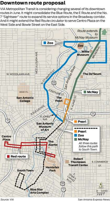 VIA might reconfigure routes to connect Southtown, Pearl ... on new orleans streetcar route maps, san antonio via trolley, san antonio via triptych, san antonio bus routes, san antonio historical maps, san antonio via transit map, san antonio via bus crash, san antonio via bus station,