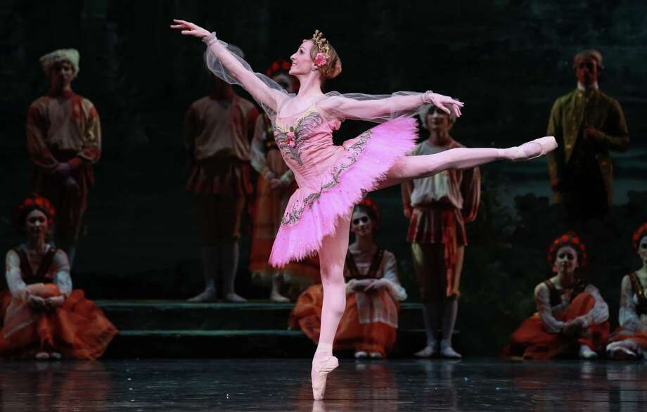"Sara Webb performs the leading role of Princess Aurora with delicate authority in Houston Ballet's star-studded reprisal of ""The Sleeping Beauty,"" choreographed by Ben Stevenson. Photo: Amitava Sarkar"