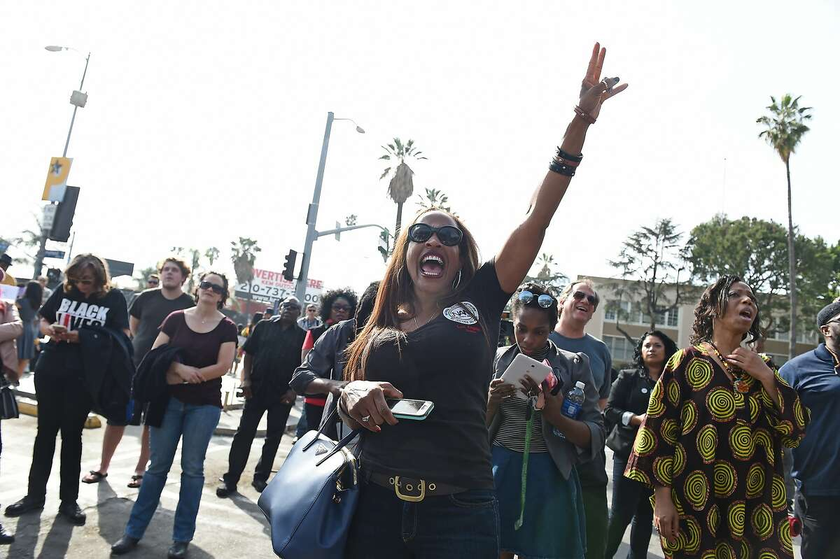LOS ANGELES, CA - FEBRUARY 28: Protestors attend a rally led by Rev. Al Sharpton before the Academy Awards ceremony at Hollywood High School on February 28, 2016 in Los Angeles, California. (Photo by Emma McIntyre/Getty Images)