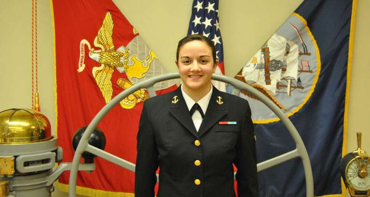 RPI Navy Reserve Officer Training Corps Midshipman Amanda Gallo, a senior at Rensselaer Polytechnic Instuitute, Troy, stands ready to move on to becoming a m,mber of the Navy?s submarine foerce.