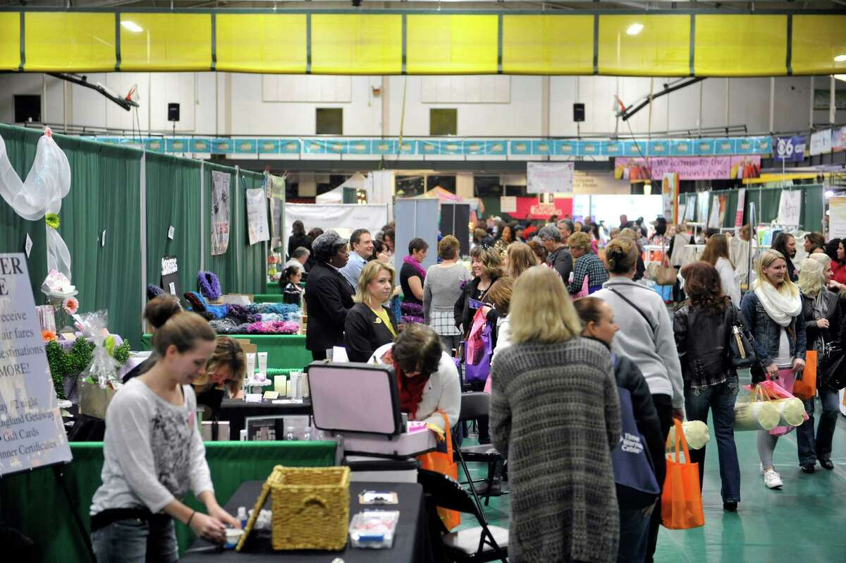 People make their way around to the different vendor's booths at the New York Women's Expo at Siena College on Sunday, Feb. 28, 2016, in Loudonville, N.Y. (Paul Buckowski / Times Union)