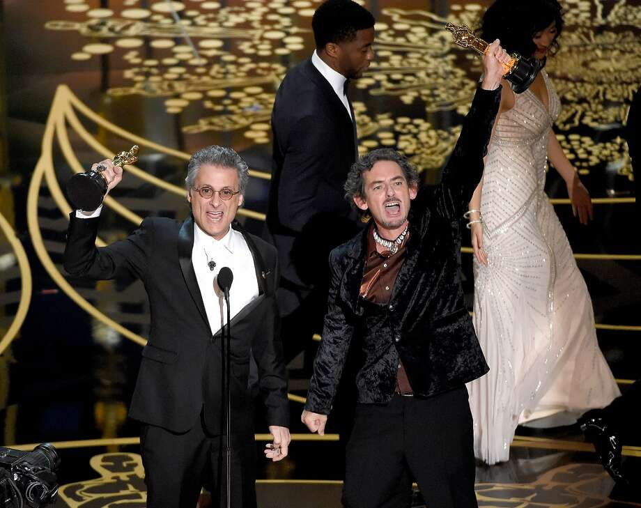 Mark Mangini, left, and David White accept the award for best sound editing for ìMad Max: Fury Roadî at the Oscars on Sunday, Feb. 28, 2016, at the Dolby Theatre in Los Angeles. (Photo by Chris Pizzello/Invision/AP) Photo: Chris Pizzello, Chris Pizzello/Invision/AP